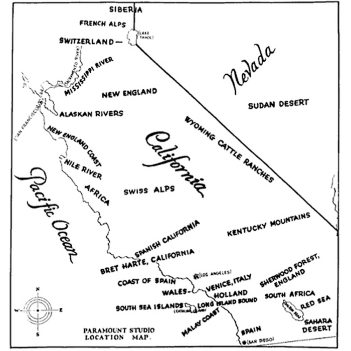 A 1927 Paramount Studio Map of the southern California suggesting locations where movies could be shot, instead of going to the actual places.